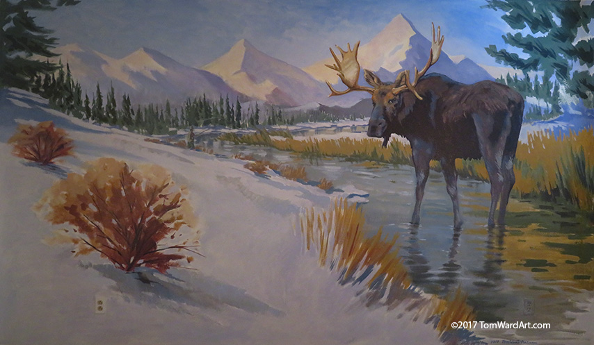 mural paining for kids room mountain murals snow moose