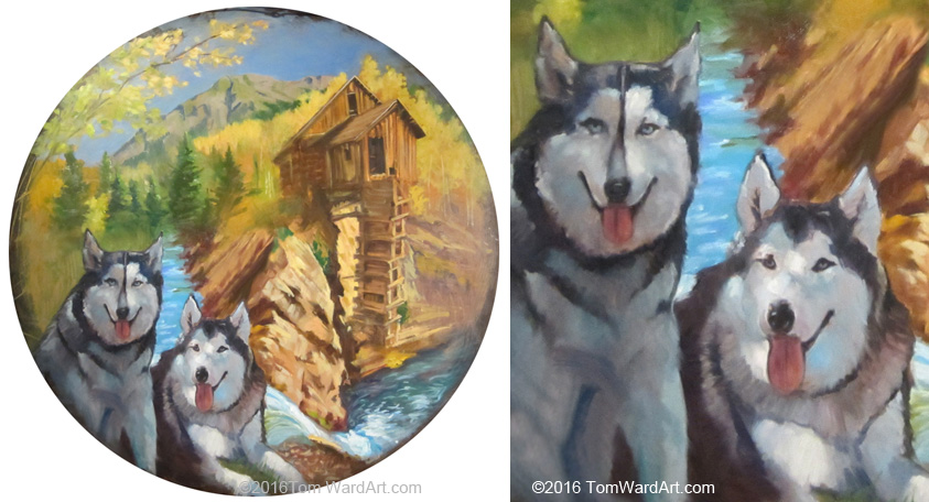 Mountain mural painting dog mural painting fine art commission landscape art