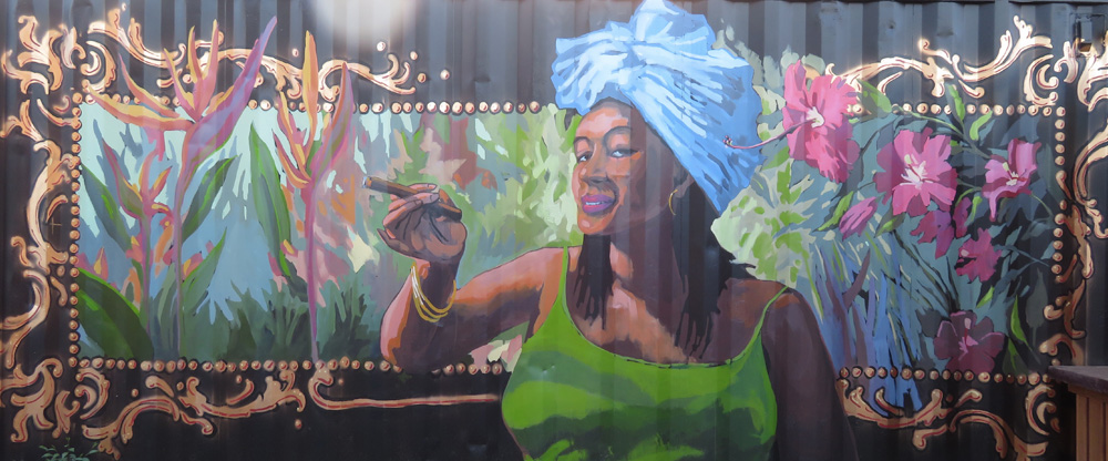 cigar girl shipping container mural