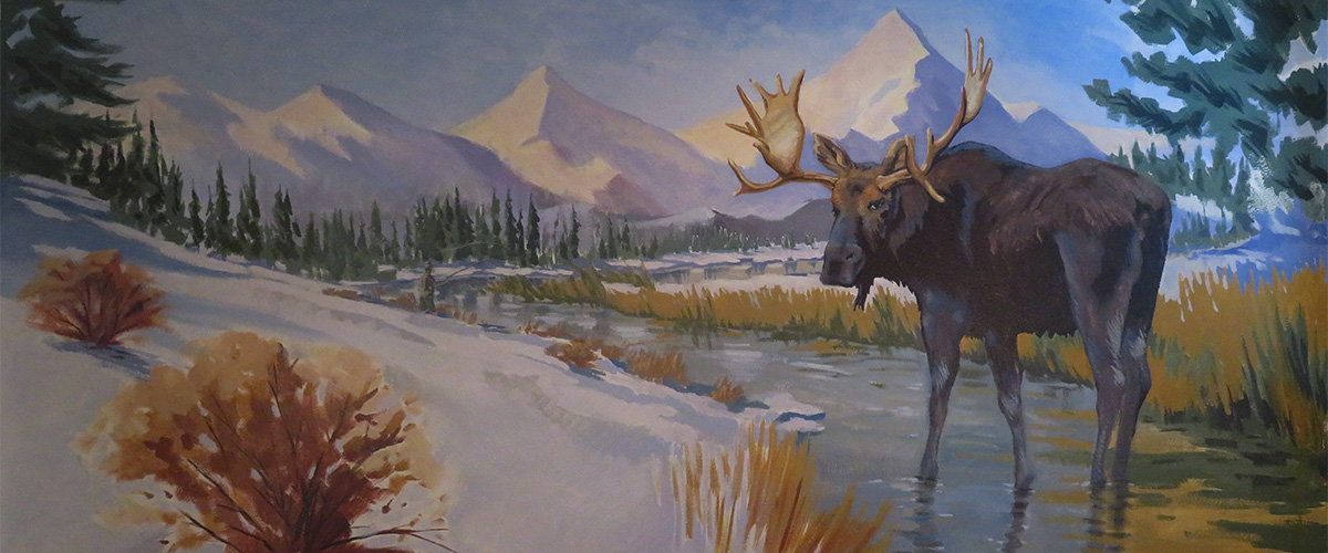 moose mural painting kids room mural mountain snow